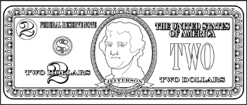 Printable Two Dollar Bill To Color